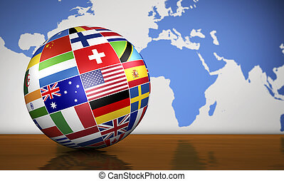 διεθνής , σφαίρα , σημαίες , επιχείρηση