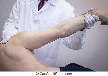 διερευνώ , ασθενής , traumatologist, γιατρός , orthopedic ...