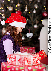 δικαίωμα παροχής , μικρός , xριστούγεννα , κορίτσι , ανοίγω