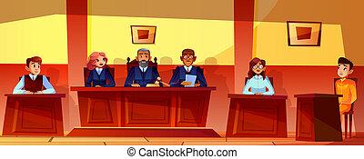 δικαστές , αυλή , εικόνα , ακοή