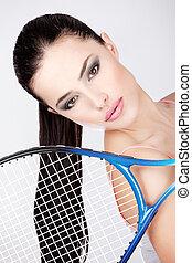 δικτυωτό διά το κτύπημα σφαίρας τέννις , γυναίκα , τένιs , όμορφη