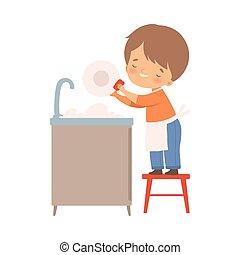 δικός , πιάτα , μικροβιοφορέας , πλύση , εικόνα , αγόρι , μικρός , δικός του