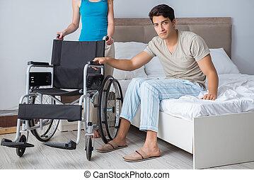 δικός του , γυναίκα , αναπηρική καρέκλα , άθυμος , απελπισμένος , άντραs