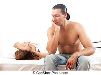 δικός του , γυναίκα , κρεβάτι , άθυμος , infront , πρόβλημα , άντραs