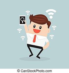 δικός του , επιχείρηση , υποστηρίζω , business., ατενίζω , σύνδεση , internet , άντραs