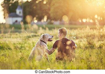 δικός του , ηλιοβασίλεμα , σκύλοs , άντραs