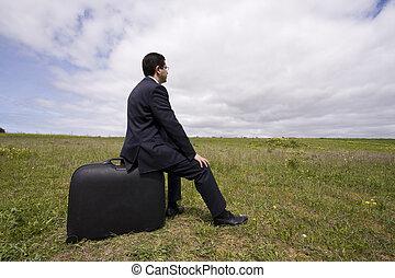 δικός του , κάθομαι , επιχειρηματίας , αποσκευές