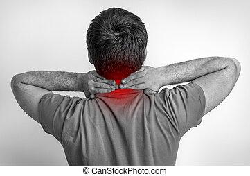 δικός του , πονώ , λαιμόs , φωτογραφία , - , μαύρο , άσπρο , άντραs