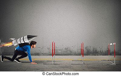δικός του , πύραυλοs , ταχύτητα , ανώτατος , εμπόδιο , σπουδαστής , overcomes, σπουδές