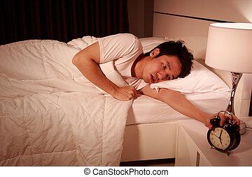 δικός του , ρολόι , ζωή , τρομάζω , ατυχής , πρωί , κρεβατοκάμαρα , άγρυπνος , άντραs