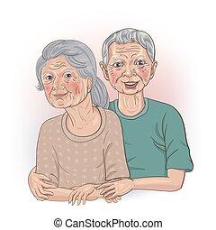 δικός του , τριγύρω , αρχαιότερος , μαζί , ζευγάρι , φόντο. , άσπρο , κάθονται , μπράτσο , wife's, χέρι