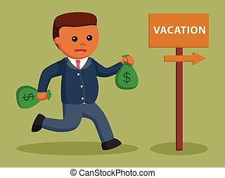 δικός του , χρήματα , διακοπές , μετάβαση , αφρικανός , επιχειρηματίας
