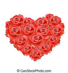 δικό σου , καρδιά , σχεδιάζω , απομονωμένος , τριαντάφυλλο