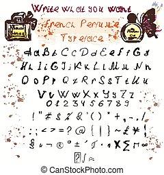 δικό σου , χέρι , γράμματα , γράφω άσκοπα , μελάνι , ανώτερος , μετοχή του draw , χαμηλώνω , θέτω , κόμικς , αλφάβητο , περίπτωση , glyphs , σχεδιάζω , κολυμβύθρα