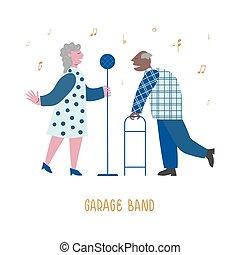 δικό τουs , σημαία , ιστός , club., ηλικιωμένος , απολαμβάνω , αγαπητικός , τραγούδι , μικροβιοφορέας , band., started, γενική ιδέα , εικόνα , άντραs , αρχαιότερος , κυρία , μουσική
