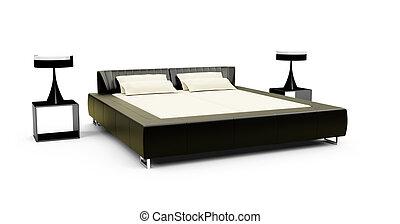 διπλός , άσπρο , κρεβάτι , εναντίον