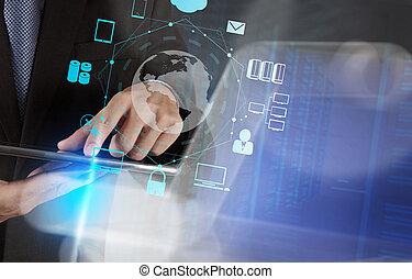 διπλός , επιχειρηματίας , μοντέρνος , έκθεση , αποδεικνύω , concep , τεχνολογία