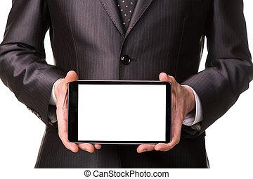 δισκίο , εδάφιο , εκδήλωση , businessman's , απομονωμένος , δείγμα , pc , comuter, κενός αλεξήνεμο , άσπρο , χέρι , δικό σου