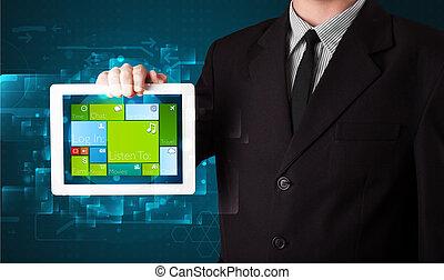 δισκίο , νέος , μοντέρνος , σύστημα , επιχειρήσεων , κράτημα , επιχειρηματίας , λογισμικό