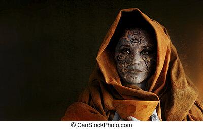 δισκοπότηρο , γυναίκα αμπάρι