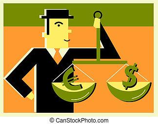 δολάριο , άντραs , ζυγίζων , εναντίον , euro