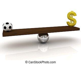 δολάριο , μπάλα , εναντίον , ποδόσφαιρο