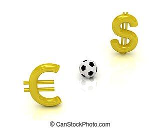 δολάριο , ποδόσφαιρο , εναντίον , euro