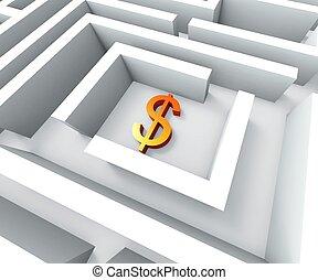 δολλάρια , δολάριο αναχωρώ , εύρημα , λαβύρινθος , αποδεικνύω