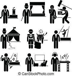 δουλειά , καλλιτέχνηs , διασκέδαση , ενασχόληση