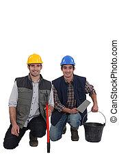 δουλευτής , δομή , χαμογελαστά , δυο