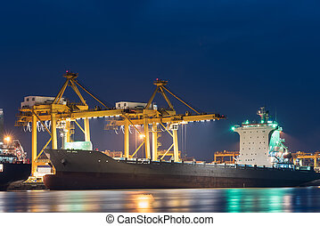 δοχείο , φορτίο , έξοδα μεταφοράς εμπορευμάτων επιβιβάζω , με , εργαζόμενος , γερανός , γέφυρα , μέσα , ναυπηγείο , σε , αμυδρός