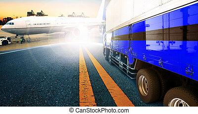 δοχείο , φορτηγό , και , πλοίο , μέσα , εισάγω , λιμάνι , λιμάνι , με , φορτίο , φορτίο , αεροπλάνο , ιπτάμενος , χρήση , για , μεταφορά , και , logistic , επιχείρηση , φόντο
