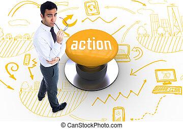 δράση , ηλεκτρικό κομβίο , εναντίον , κίτρινο