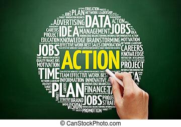 δράση , κολάζ , λέξη , σύνεφο