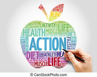 δράση , λέξη , μήλο , σύνεφο