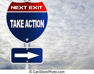 δράση , παίρνω , δρόμος αναχωρώ