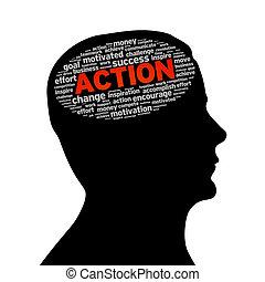 δράση , περίγραμμα , κεφάλι , -