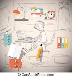 δραμάτιο , γραφικός , γραφείο , - , εικόνα , μικροβιοφορέας , αρχιτέκτονας , σχεδιαστής , ή , μηχανικόs