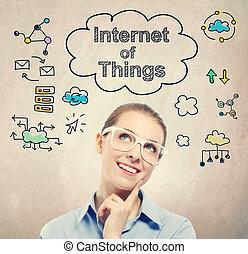 δραμάτιο , γυναίκα αρμοδιότητα , αδυναμία , (iot), νέος , internet