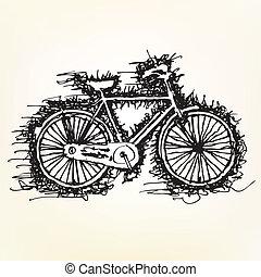 δραμάτιο , ζωγραφική , από , ποδήλατο , μικροβιοφορέας