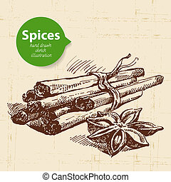 δραμάτιο , κρασί , χέρι , βοτάνι , κανέλλα , φόντο , μετοχή του draw , spices., κουζίνα