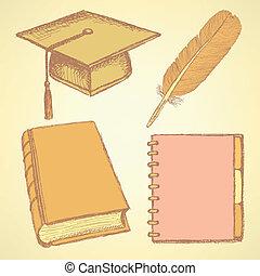 δραμάτιο , φτερό , σημειωματάριο , σκούφοs , βιβλίο , αποφοίτηση