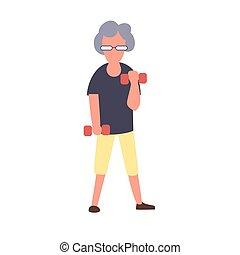 δραστηριότητες , αναψυχή , γυναίκα , concept., character., εκπαίδευση , σχόλη , αρχαιότερος , μικροβιοφορέας , ηλικιωμένος , γυναίκα , καταλληλότητα , dumbbells., γελοιογραφία