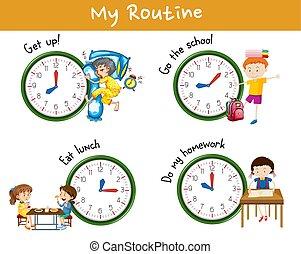 δραστηριότητες , διαφορετικός , παιδιά , ημέρα , φορές