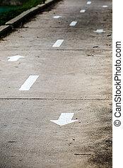 δρομάκι , ποδήλατο , άσπρο , βέλος αναχωρώ