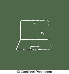 δρομέας , μετοχή του draw , laptop , εικόνα , chalk.