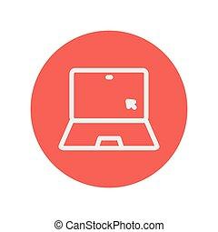 δρομέας , laptop , γραμμή , λεπτός , εικόνα