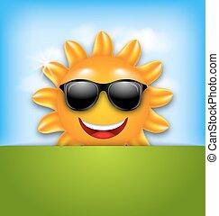 δροσερός , ευτυχισμένος , καλοκαίρι , ήλιοs , μέσα , γυαλλιά ηλίου