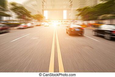 δρόμος , μεγαλείτερος , απασχολημένος , ηλιοβασίλεμα , άστυ