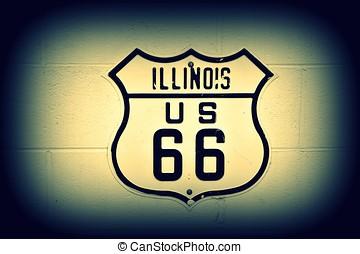 δρόμος 66 , σήμα , μέσα , illinois.